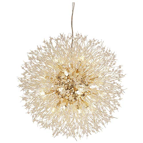 Ball Iron Wrought - ACACVA Chandelier Light, 16 Lights Gold Ceiling Light, Wrought Iron Ball Pendant Light Like Dandelion for Bedroom Living Room Dinning Room,16light