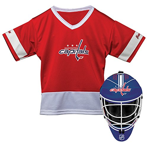Franklin Sports Washington Capitals Kid's Hockey Costume Set - Youth Jersey & Goalie Mask - Halloween Fan Outfit - NHL Official Licensed Product -