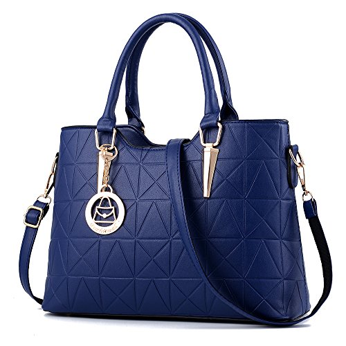 Hardware Tote Handbag - Handbag for Women Triangle Cone Casual Tote Bag Shoulder Bag Hardware Pendant Girls Crossbody Bag,Dark Blue