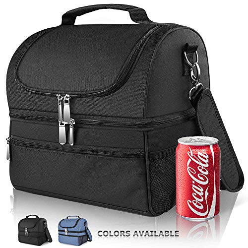 Ceephouge Extra Large Lunch Bag 14 Liter, Dual Compartment Cooler Tote Bags Insulated Leakproof Adult Reusable Meal Prep Bento Box For Men Women With Adjustable Shoulder Strap, Black