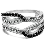 0.39 Ct Twt Black And White Cubic Zirconia Infinity Wedding Ring Guard Enhancer set with Black And White Cubic Zirconia (2/5 CT)
