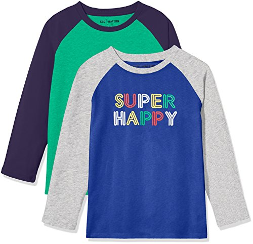 Kid Nation Kids' 2 Pack Raglan Long-Sleeve T-Shirt for Boys or Girls XL Blue/Gray Heather+ Green/Nav