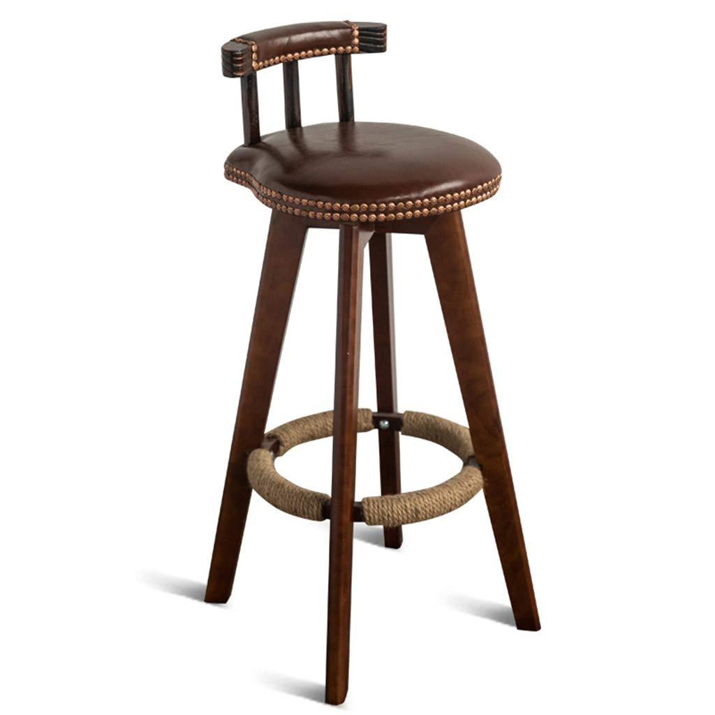 BROWN Seat height 53cm DXZ-Barstools Barstools Chair Hemp Rope Footrest PU Cushion Seat Backrest Dining Chairs for Kitchen   Pub   Café Bar Stool 4 Brown Wood Legs Max. Load 150 kg Vintage Barstool Design
