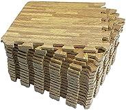 LaFamille Wood Grain Floor Mat 2X9 Tiles 18 sq ft Foam Interlocking Puzzle Wood Mat for Kids, Gym, Basement 1&