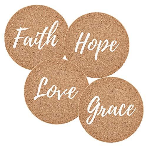 Faith, Hope, Love Cork Coasters, 4 Inch, Set of ()