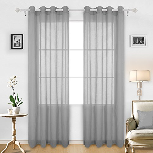 Deconovo Grommet Top Curtains Linen Look Sheer Curtain for Nursery 52W x 95L 1 Pair Grey