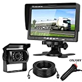 "Backup Camera 7"" Monitor System for RV/Truck/Camper/Trailer/Bus Connecting Single Power Reverse/Constantly Use Rear/Front Facing View Guide Lines ON/Off IP68 Waterproof Night Vision Review"