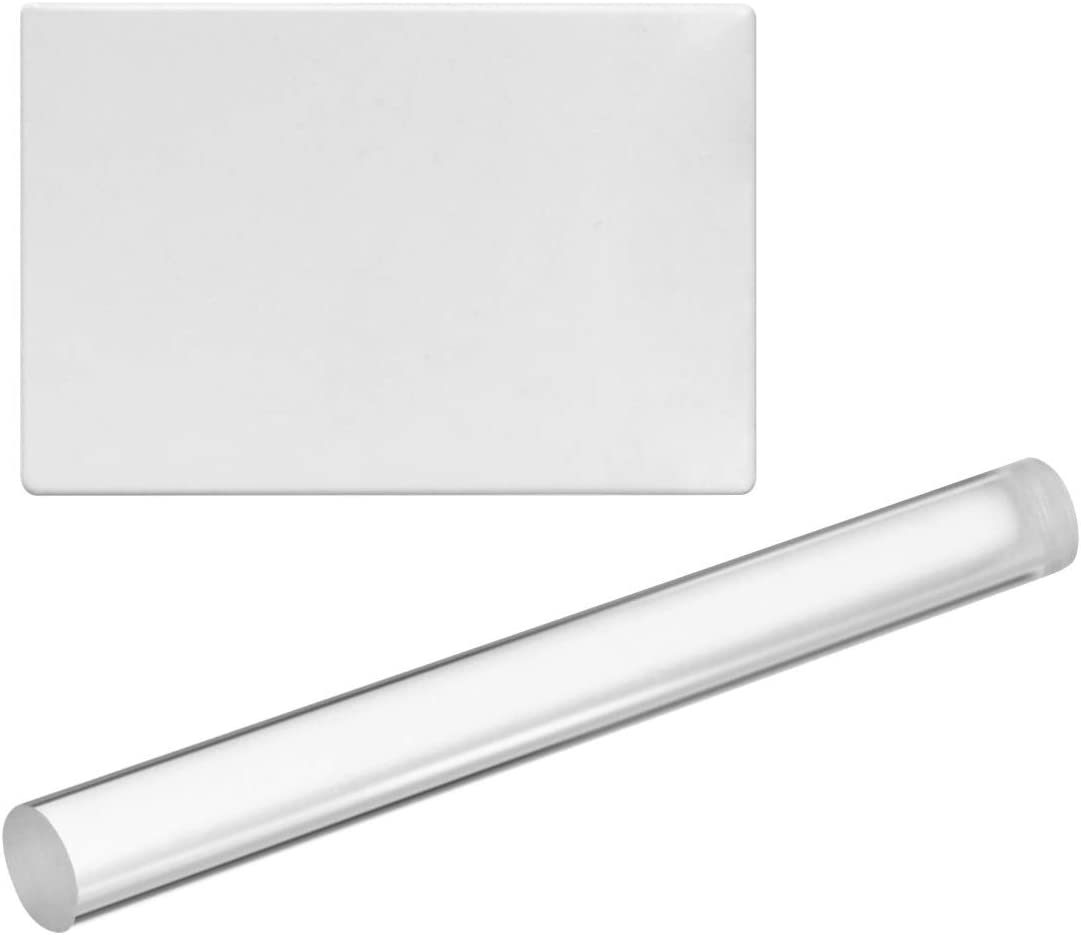 Exceart Acrylic Clay Roller with Acrylic Sheet Backing Board Ceramics Clay Pottery Craft Tool for Shaping Sculpting Modelling