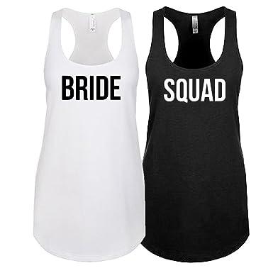 c12524d0709 That Shirt Tho Bride Squad - Bachelorette Party Tanks - Matching Bridal  Party Set - Hen Party - White -  Amazon.co.uk  Clothing