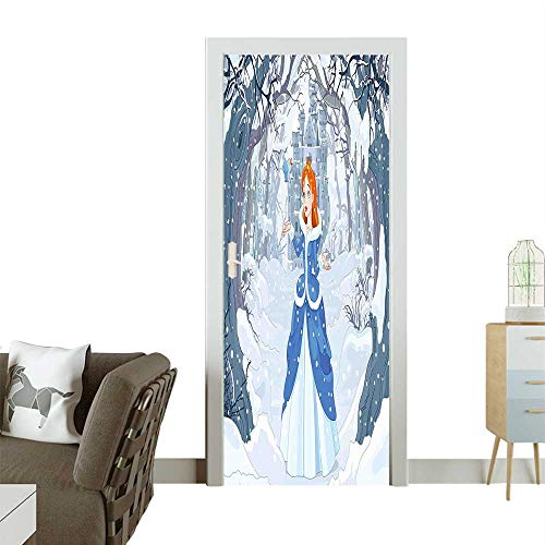 Homesonne Door Art Sticker Bird in Winter Magic Castle Fairy Tale Cadet Blue Room decorationW30 x H80 INCH ()