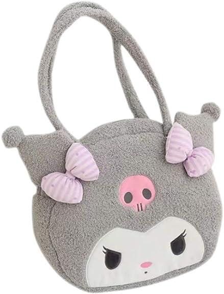 Kuromi fuzzy plush black coin bag handbag wallet purse storage bags cartoon new