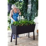 Keter Elevated Garden Bed 16 Dimensions: 44. 9 in. W x 19. 4 in. D x 29. 8 in. H Easy to read water gauge indicates when plants need additional moisture Drainage system that can be opened or closed for full control of watering