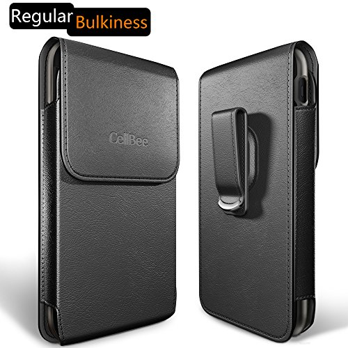Dreo [CellBee Plus Series] Universal PU Leather Heavy Duty Vertical Cellphone Holster Case with Belt Clip for Smartphones (Regular Bulkiness)