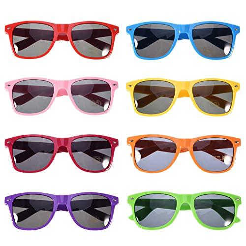 anteojos de sol para fiesta, paquete de 8 colores neón, suministros de fiesta, anteojos unisex para novia o bachelorette...