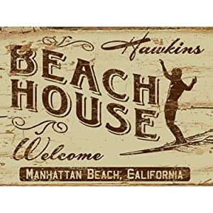 "Beach House (Personalized) 9""x12"" Solid Wood Sign Wall Decor Art"