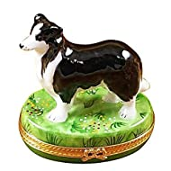 BLACK & WHITE SHEEP DOG - LIMOGES BOX AUTHENTIC PORCELAIN FIGURINE FROM FRANCE