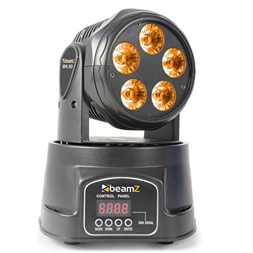 BeamZ MHL90 Negro – Accesorio de discoteca (Negro, LED, 5 lámpara(s), 18 W, Ámbar, Azul, Verde, Rojo, Ultravioleta (UV), Blanco, 15 canales)