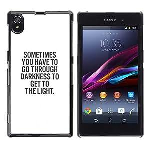 A-type Arte & diseño plástico duro Fundas Cover Cubre Hard Case Cover para Sony Xperia Z1 L39 (White Black Text Darkness God Religion)