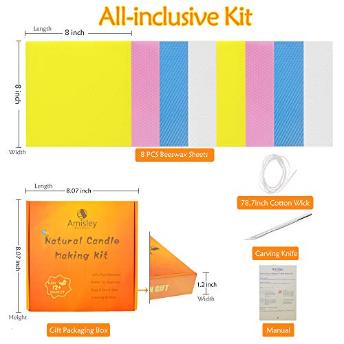 Candle Making Kit Beeswax, 8 Pcs Amisley DIY Candle Kit for Adults and Kids - Homemade Candle Maker Kit for Beginner - Unscented Candle Making Supplies - Great Gift for Your Beloved One - 4 Colors