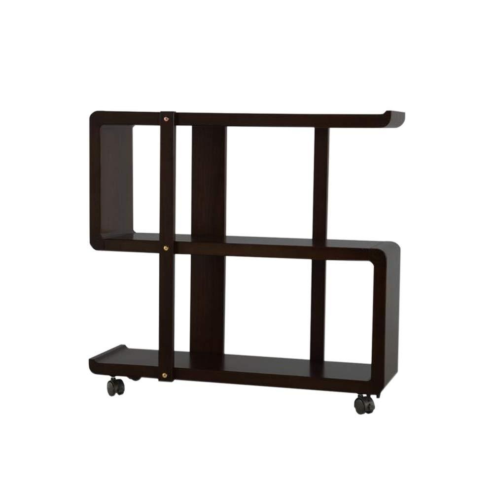 4 Floors 3 Floors Jcnfa-Shelves Movable Bookcase Sofa Side Floor Stand Bag Pulley Living Room Study Bedroom Color : Black, Size : 31.4910.6229.92in