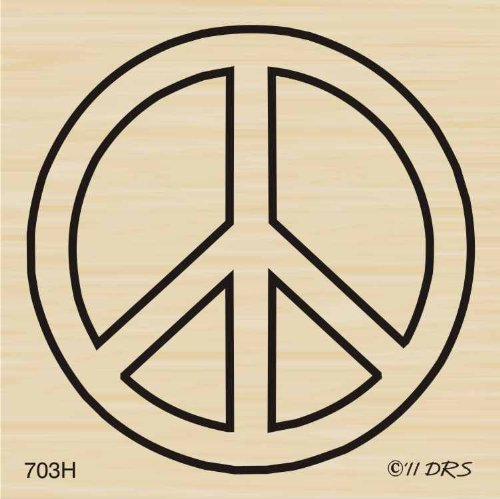 Jumbo Peace Sign Rubber Stamp By DRS Designs