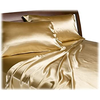 Divatex Home Fashions Royal Opulence Satin Queen Sheet Set, Gold