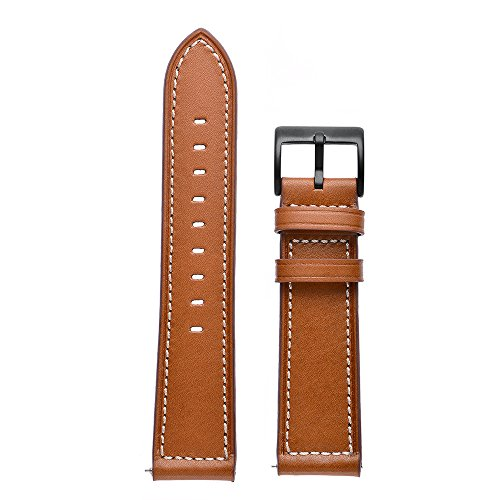 Aottom Compatible for Samsung Galaxy Watch 42mm Band Leather 20MM Smart Watch Replacement Band Metal Bracelet Wristband for Samsung Galaxy Watch Active 40mm / Galaxy Watch 42mm / Gear Sport, Brown