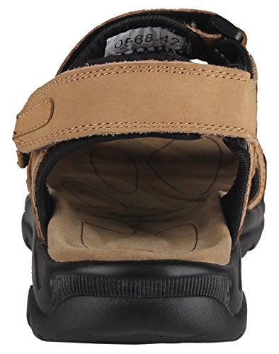 iLoveSIA Mens Leather Sandals Athletic and Outdoor Shoes Khaki Jk2tv2EC