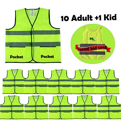 CIMC Yellow Reflective High Visibility Safety Vest with Pockets,10 Pack,Bright Construction Vest with Sliver Strip,Made from Breathable Neon Yellow Mesh,Hi Vis vest Working outdoor (neon yellow)