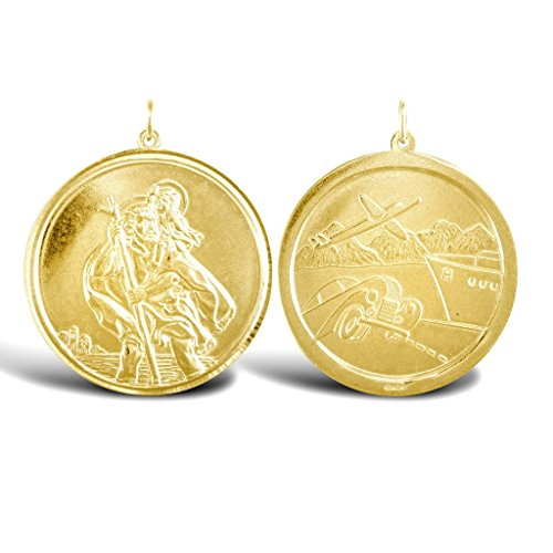 Jewellery World Bague en or jaune 9carats Pendentif Médaillon St Christophe Traveller