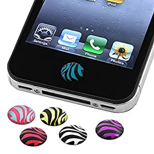 Insten Insten 6 Pieces Zebra Patterns Home Button Sticker Compatible with Apple iPhone 6 (4.7) - - Charm - Retail Packaging - multi
