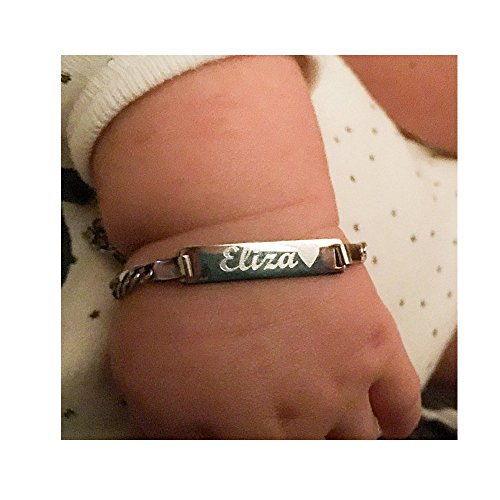 Personalized Baby Bracelet Silver ID Bracelet Engraved Custom Name Protection Bracelet for Girls