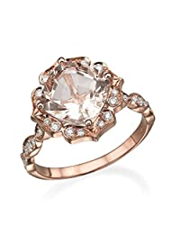 2.25 Carat natural peach/pink VS Morganite Engagement Ring 14k Rose Gold Flower Leaves Vintage