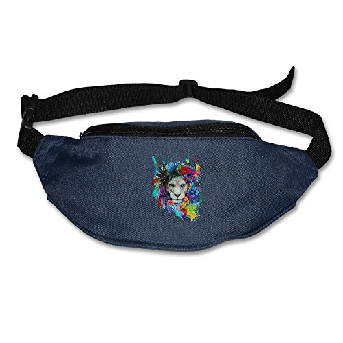 Colorful Feather Lion Running Waist Pack Bag Travel Sports Little Pocket For Hiking Climbing Men Women
