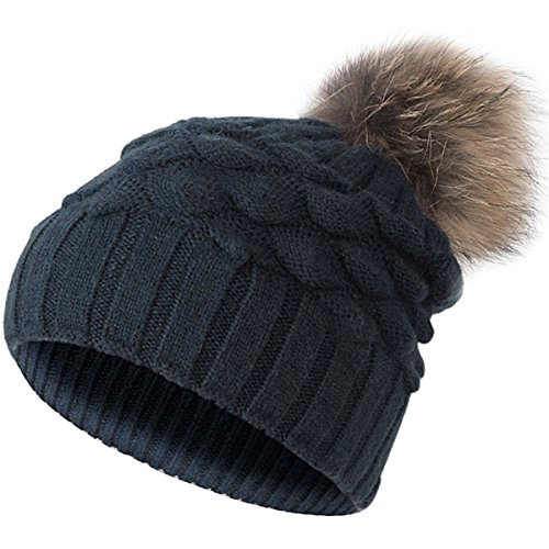 EVRFELAN Winter Women Raccoon Fur Pompom Beanie Hat Cashmere Fish Scales Ribbed Cable Knit Hat Warm Thick Soft Fashion Skull Girls Ski Snowboard Cap (Navy blue)