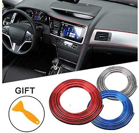 5M Car Body Decoration Strips Auto Interior Frames Finishing Decorative Strips Dashboard Adhesive Decorationv Blu