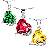 "Mabella Sterling Silver Jewelry Heart Necklace Simulated Diamond 6.06 CTW Lab Ruby Citrine Emerald Pendant 18"" Gifts for Women"