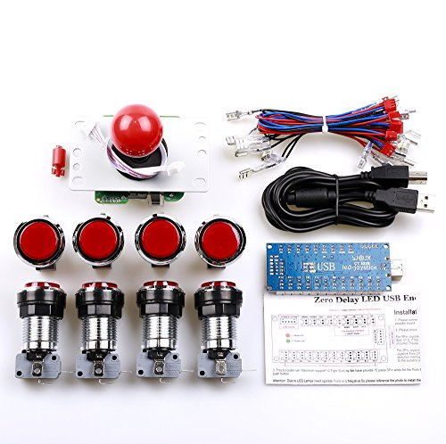 Easyget Zero Delay Pc Arcade Game DIY Parts Kit 1 X 5pin 8 Way Joystick + 8 X Chrome Illuminated Arcade Button with Microswitch for Mame Jamma & Fighting Games ,Support All Windows Systems - Red Kit ()