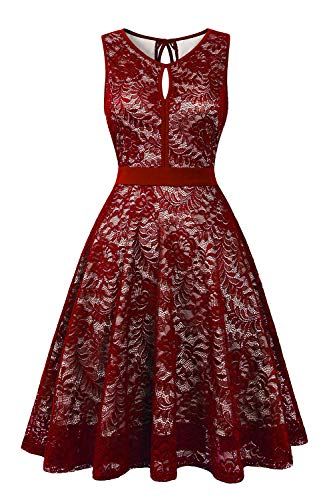 BBX Lephsnt Women's Vintage Floral Lace Sleeveless Party Dress Cocktail Formal Swing Dress Wine Red