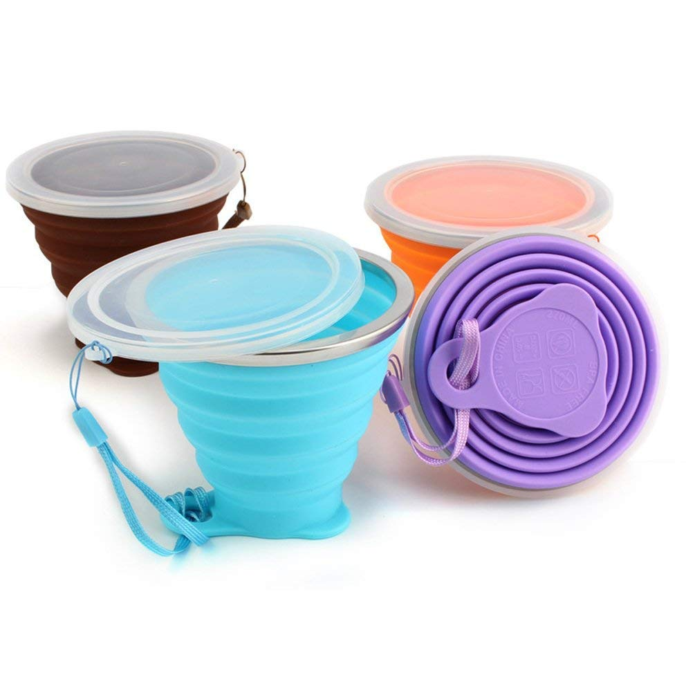 Ultra-Thin Silicone Travel Camping Folding Cup Portable Outdoor Demountable Collapsible Cup with Lids BPA Free Expandable Drinking Cup Set 9.22oz(270ml) 4Pack