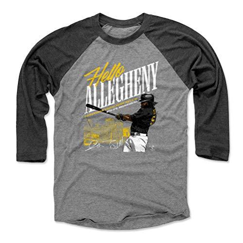 (500 LEVEL Josh Bell Baseball Tee Shirt (Medium, Black/Heather Gray) - Pittsburgh Baseball Raglan Tee - Josh Bell Allegheny Y WHT )