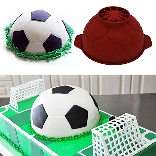 3D Football Soccer Shaped Silicone Cake Mold DIY Chocolate Mousse Mould Pastry Tools Bakeware Fondant Mold Cake Decorating Tools ()