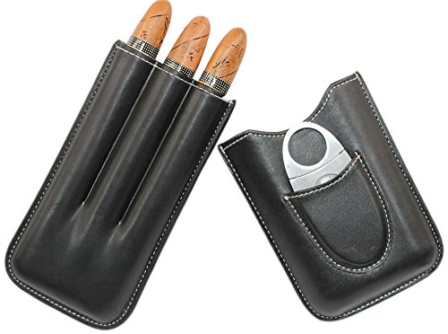 AMANCY® 3 Holders Genuine Leather Cigar Case with Silver Stainless Steel Cutter,Packed With Nice Gift Box