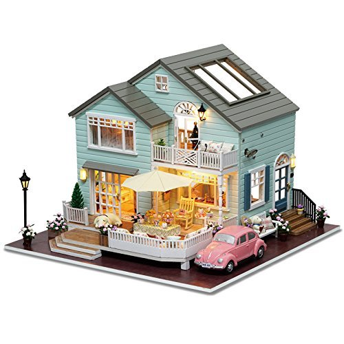 Rylai 3D Puzzles Miniature Dollhouse DIY Kit Light Queenstown Holidays Series Dolls Houses Accessories with Furniture LED Music Box