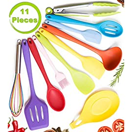 11pc Silicone Kitchen Utensil Set by CuisineFacets Colorful Cooking Utensils with Spatula, Serving Tools, Accessories and FREE Spoon Rest - Heat Resistant Spatulas and Spoons for Non-Stick Cookware 13 ✅11PC incl. FREE SPOON REST: Imagine how many colorful food creations you can now unleash all at once, because your utensil set includes everything! Silicone Wisk, Pastry Brush, 2x Spatulas, Slotted Spoon, Salad Spoon, Food Tong, All-Purpose Spoon, large Ladle, Slotted Turner, and BONUS Spoon Rest. ✅HEAT RESISTANT & EASY TO CLEAN: From the Rainbow Whisk to the Pink Pastry Brush, just pop your silicone kitchen utensils in the dishwasher to clean. Everything is made from FDA Compliant Food Grade Silicone and can withstand temperatures up to 446°F... like steaming hot pasta, pumpkin soup or pancakes. ✅WHAT'S YOUR FAVE? If you're like most people, there are always 1 or 2 kitchen tools you love the most. And if you're like us, it could even be because of color. Either way, our Cheery Utensils Set from CuisineFacets gives you the best of both - your favorite non-stick kitchen utensils, in your favorite colors too.