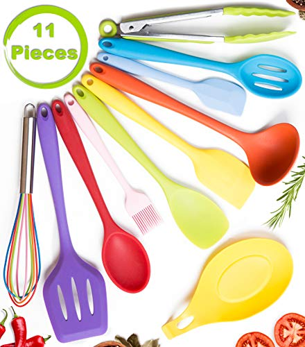 Silicone Kitchen Utensil Set by CuisineFacets 11pc Colorful Cooking Utensils with Spatula, Serving Tools, Accessories and FREE Spoon Rest - Heat Resistant Spatulas and Spoons for Non-Stick Cookware