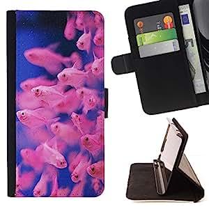 Momo Phone Case / Flip Funda de Cuero Case Cover - Plongée Bleu Rose Coral Reef - Samsung Galaxy S6 Edge Plus / S6 Edge+ G928