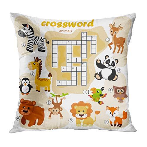 Ortrial Throw Pillow Cover Print Polyester Crossword Puzzle Game Animals Panda Fox Decorative Sofa Bedroom Hidden Zipper Pillowcase Patio Outdoor 16 x 16 -