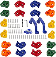 KINSPORY 20pc Rock Climbing Holds Kids & Prise Escalade Enfant and 2pc Climbing Grips, Colourful DIY Pig N