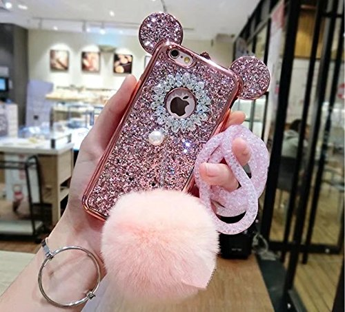 iPhone 8 Plus Mouse Ears Case,iPhone 8 Plus Rabbit Fur Ball Case,Luxury Chrome Bling Glitter Mouse Ears Rabbit Fur Ball Phone Case Cover For iPhone 8 Plus 5.5 inch (pink)